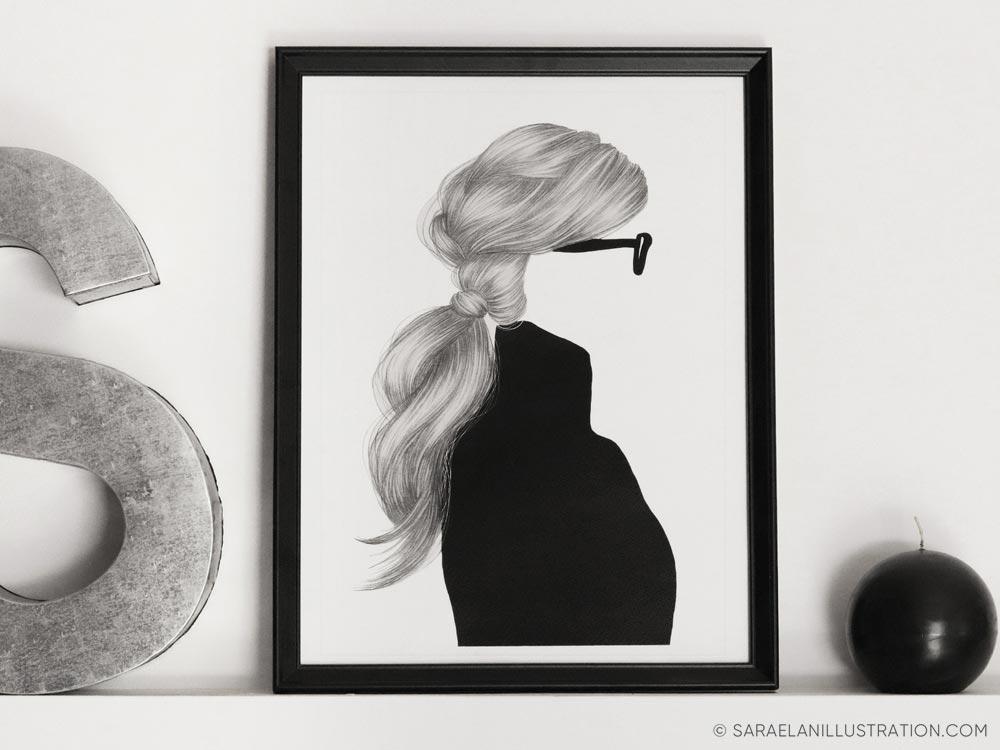 Stampa bianco e nero di ragazza senza volto