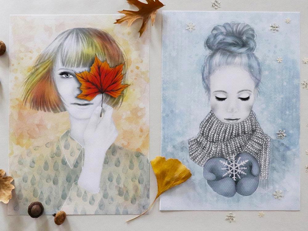 Stampe delle stagioni autunno e inverno