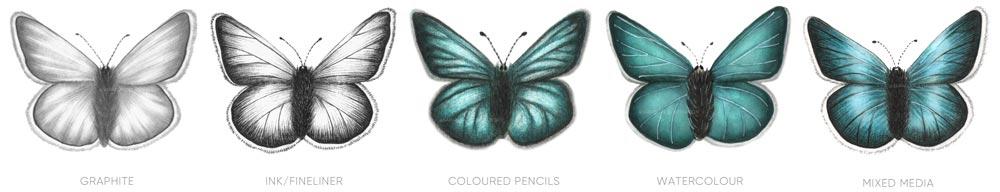 Disegnare farfalle in diversi modi