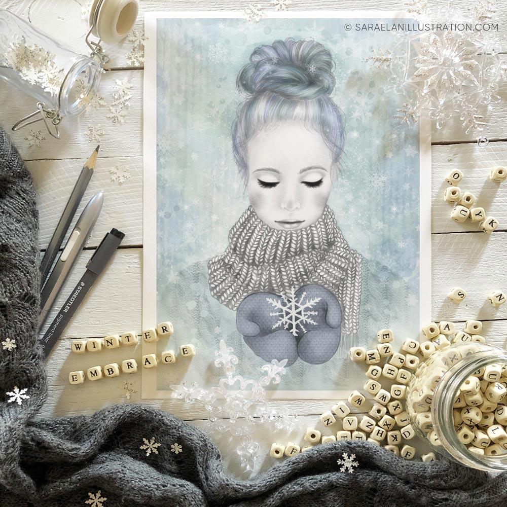 Ragazza inverno Winter ambrace l'abbraccio dell'inverno