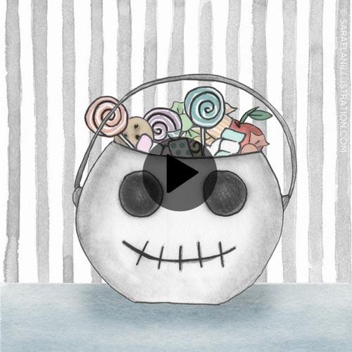 Video animazione di cestino di caramelle di halloween che sputa fuori i dolcetti