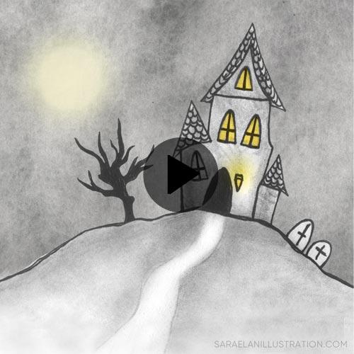 Video animazione di casa infestata da fantasmi con luci che si accendono e spengono