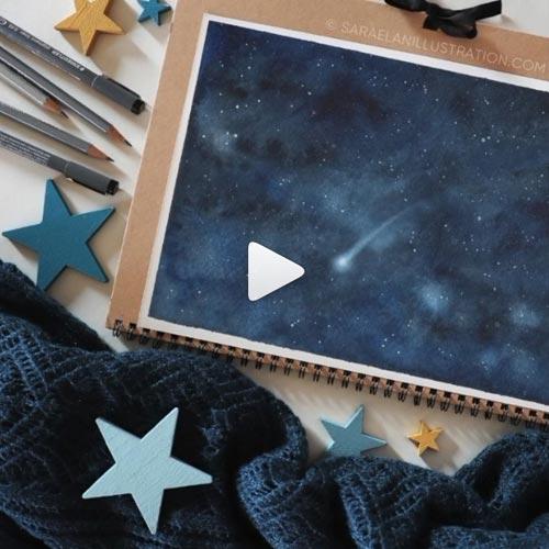 Video animazione di stalla cadente che cade nel cielo