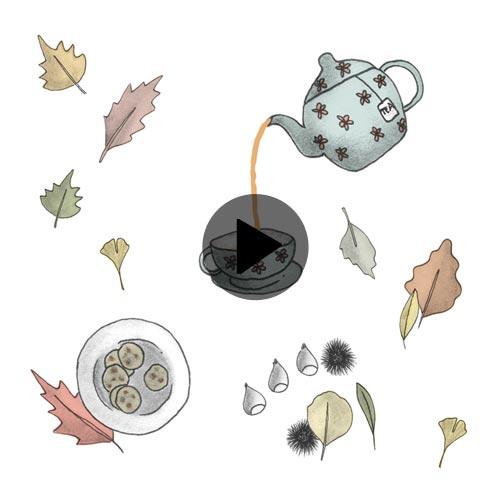 Video animazione di teiera che versa il te