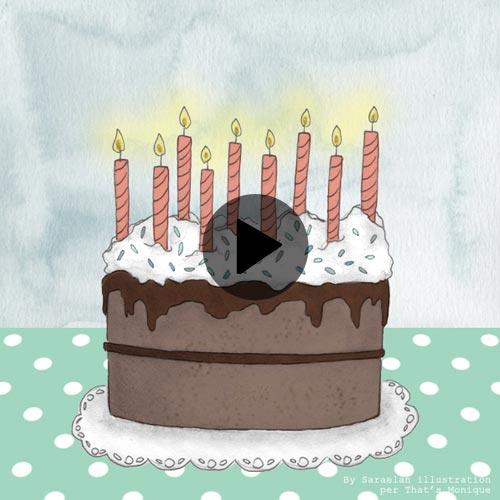Video animazione di torta con candeline che si spengono