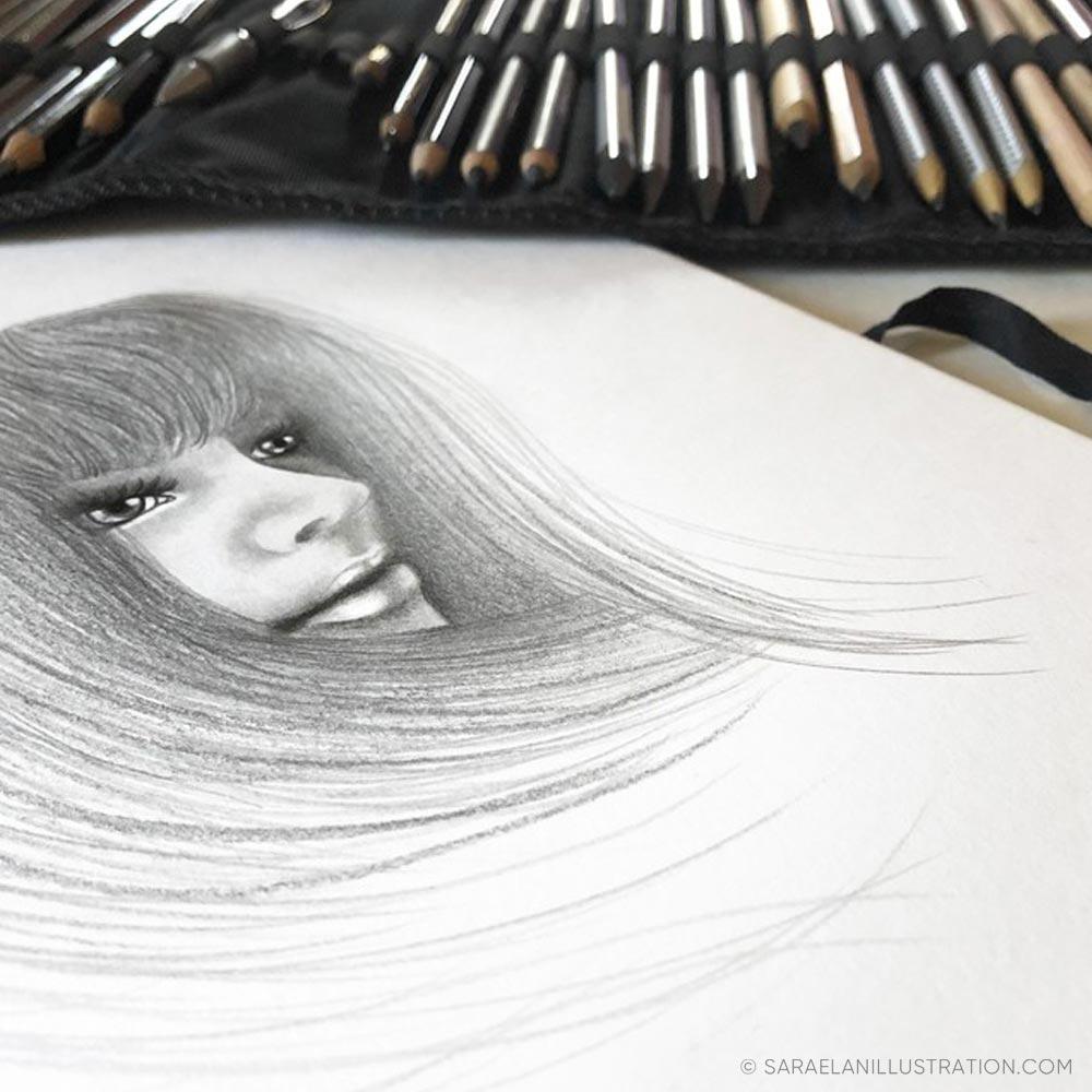 Luci e ombre disegno a matita e carboncino work in progress