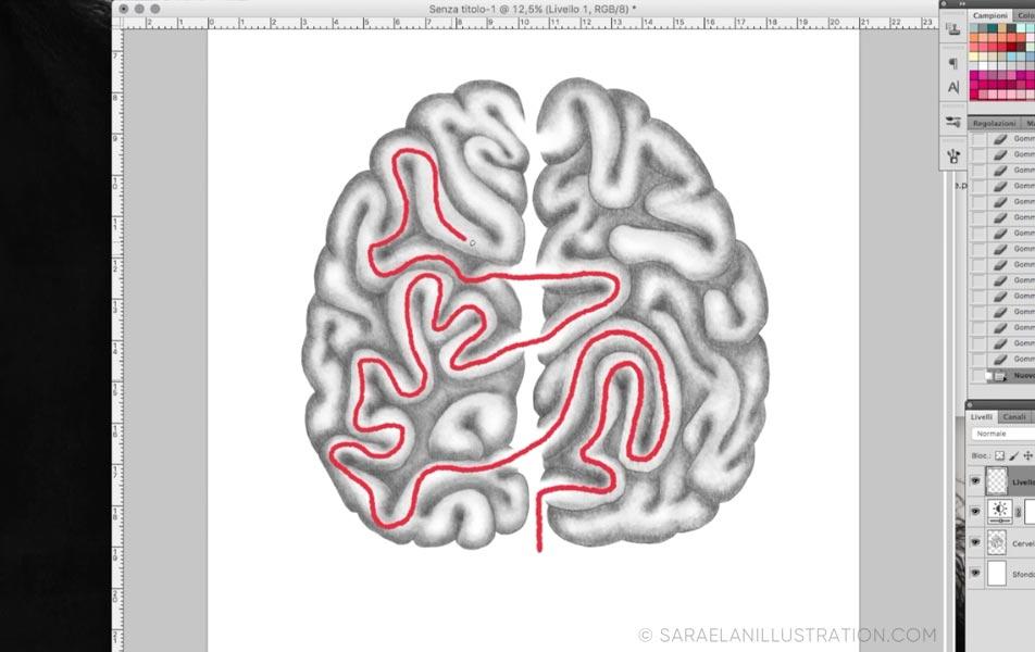 Linea rossa cervello labirinto