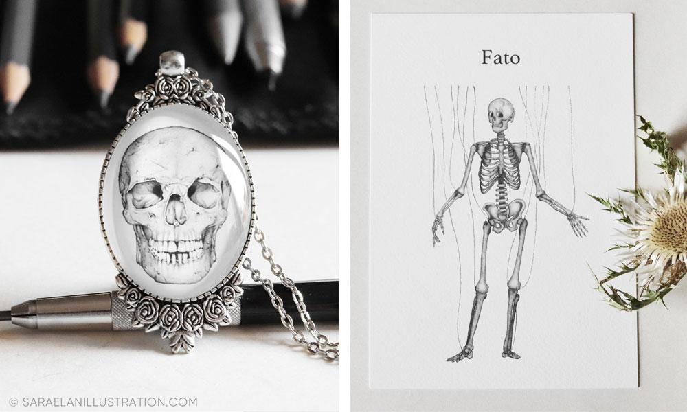 Stampe e gioielli creati con disegni anatomici di Sara Elan Donati