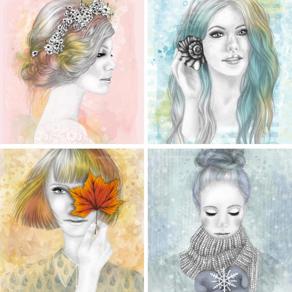 Le Quattro Stagioni illustrazioni di ragazze stagionali