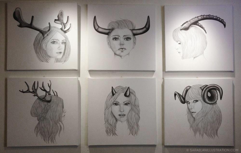 Quadri di ragazze con corna esposte al Frida Isola di Milano