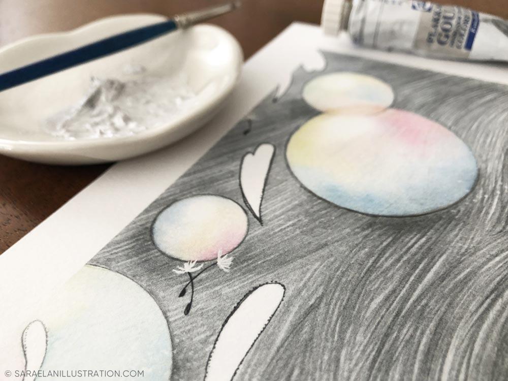 semini di soffione dipinti a mano con guache argento