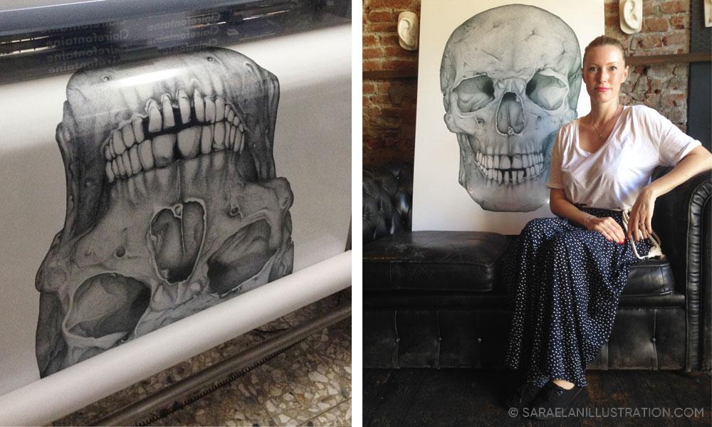 Stampa di teschio gigante su pannello forex di Sara Elan Donati